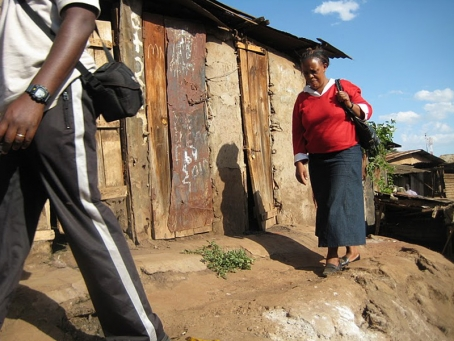 Margaret spends a lot of time walking through Kibera to visit the homes of her students
