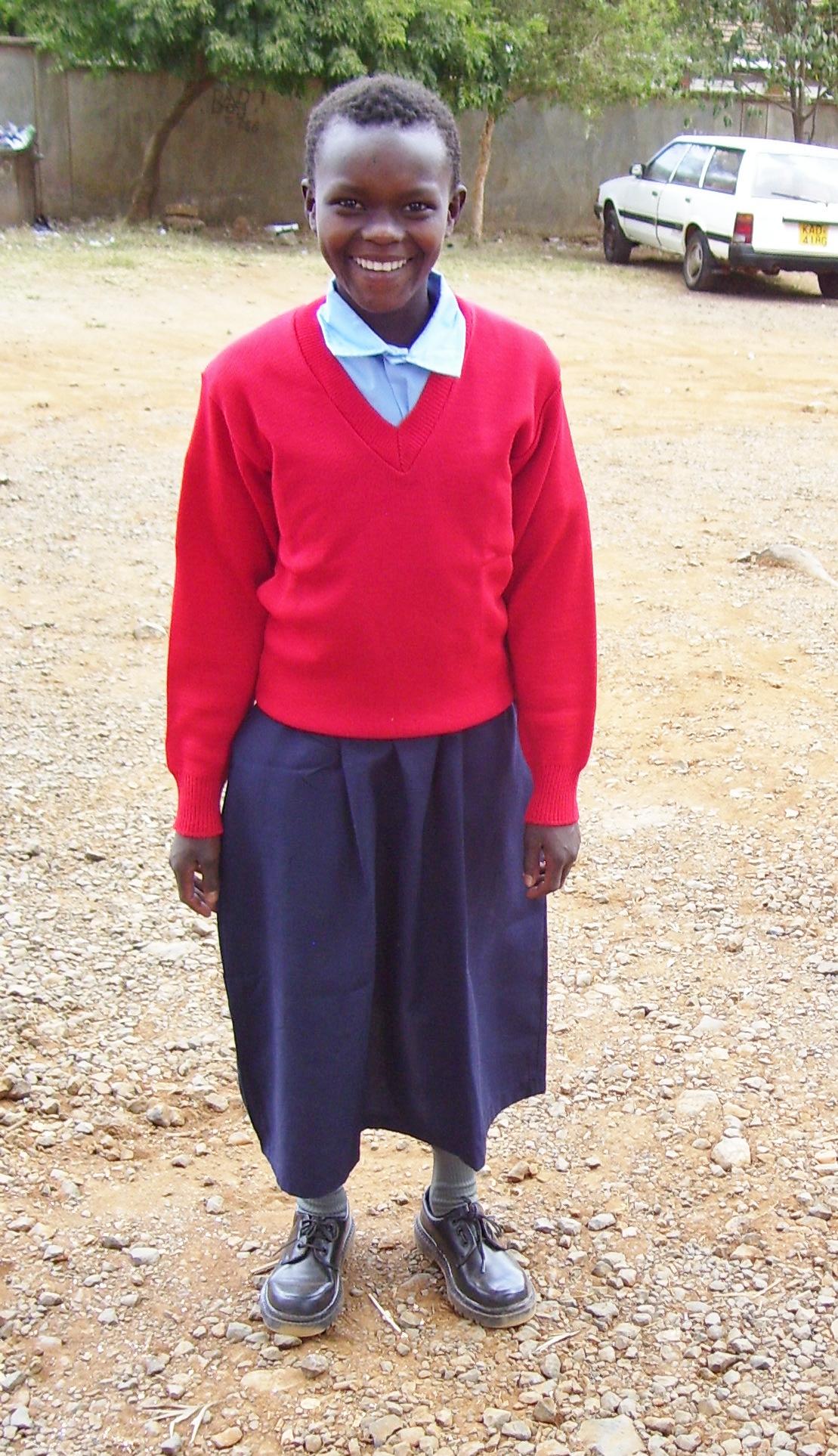 Ester in her new school uniform