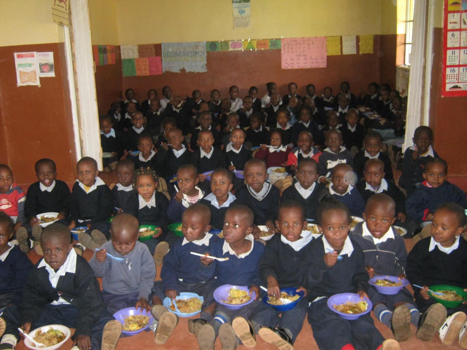 Children enjoy the wonderful meal