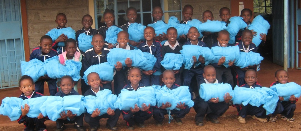 Oldest Tenderfeet students with their mosquito nets